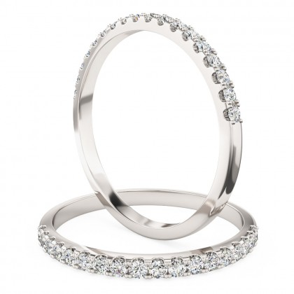 A classic Round Brilliant Cut diamond set ladies eternity/wedding ring in 18ct white gold