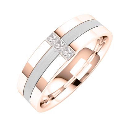 A stunning Princess Cut diamond set mens wedding ring in 18ct rose & white gold