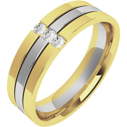 A striking Round Brilliant Cut diamond set mens wedding ring in 18ct yellow & white gold