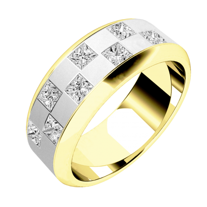 A stunning chequerboard design diamond set mens ring in 18ct yellow & white gold