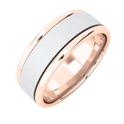 A classic courted mixed finish mens wedding ring in 18ct rose & white gold