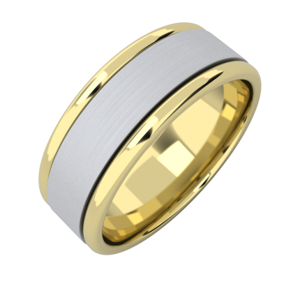 A classic courted mixed finish mens wedding ring in 18ct yellow & white gold