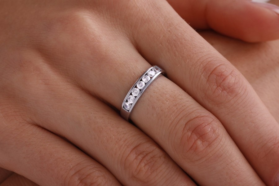 diamond ring bands half band princess cut set aurora platinum channel eternity