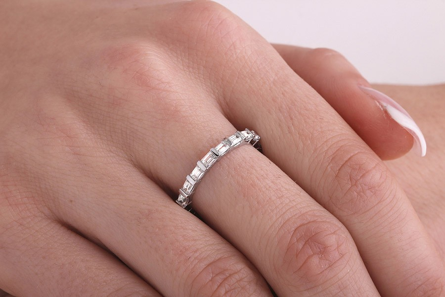 wide band baguette and round diamond ct ring wedding bands