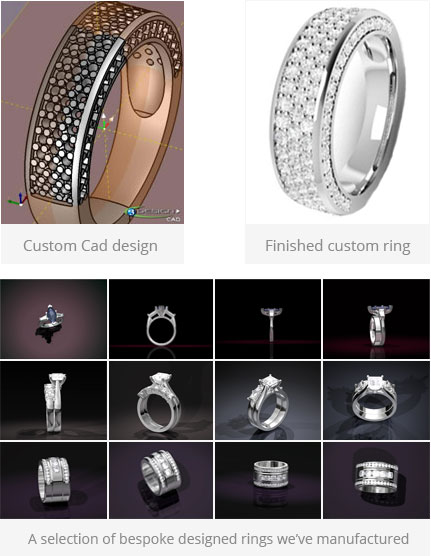 We use a mixture of sketches and CAD-CAM to design your ring