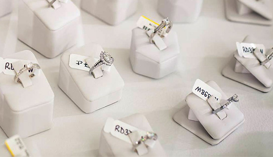 Our ring samples are made from silver and cubic zirconia