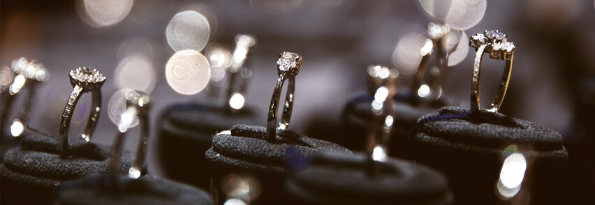 Photo of a group of rings in a showroom presentation