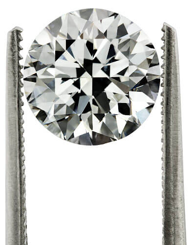 Tweezers holding a high grade diamond