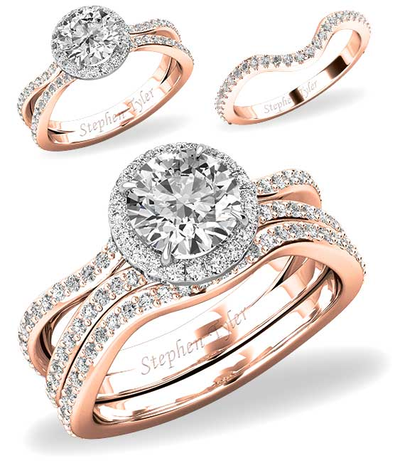 Matching engagement and wedding rings in rose gold