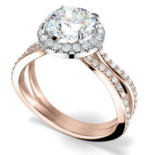 A round brilliant cut diamond halo cluster in 18ct rose gold & platinum