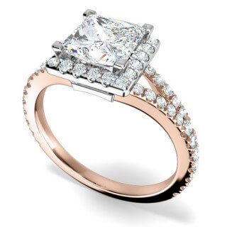 A princess cut diamond halo cluster in 18ct rose gold & platinum