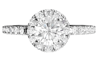 A white gold engagement ring with a single diamond stone and a halo of smaller diamond stones
