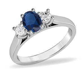 A sapphire and diamond gemstone ring in white gold